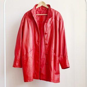buttery soft oversized long red leather coat